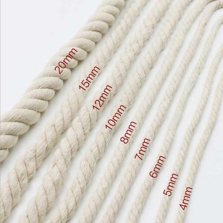 1 กก.สีขาวสามTwistedผ้าฝ้ายเชือก 5Mm/6Mm/7Mm/8Mm/9 มม./10 มม./12 มม./15 มม./18 มม./20 มม.Handmade Craftตกแต่งกระเป๋าถือ
