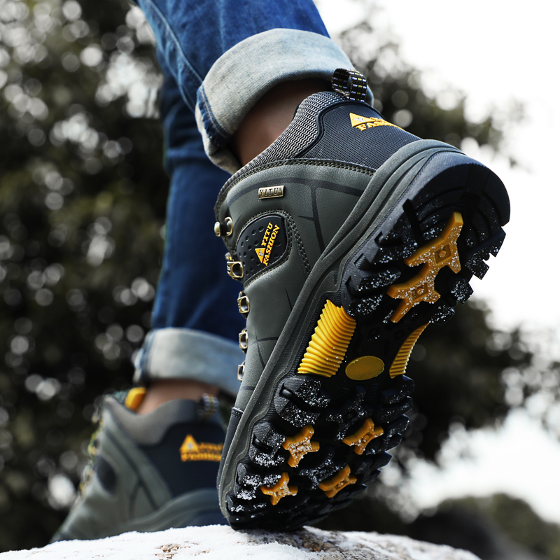 Image 5 - Brand Men Winter Snow Boots Plush Warm Men Snow Boots High Quality Waterproof Leather Sneakers Outdoor Male Hiking Boots 39 47-in Snow Boots from Shoes