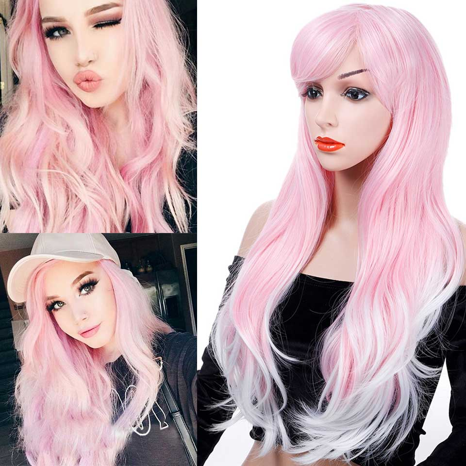 Lolita Cosplay Cute Long Wavy Synthetic Wigs Pink White Ombre With Bangs Christmas Daily Use Hair For Girls