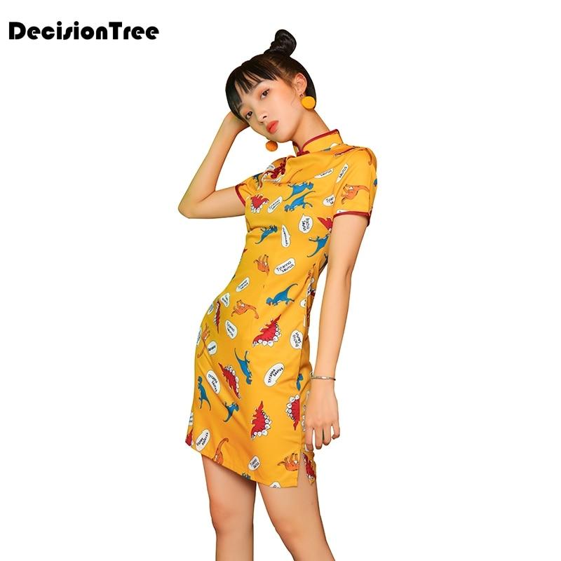 2020 Women Chinese Dress Qipao Dress Improved Cheongsam Printing Party Dresses Nightclub Uniform Slim Short Sleeve Girls Qi Pao