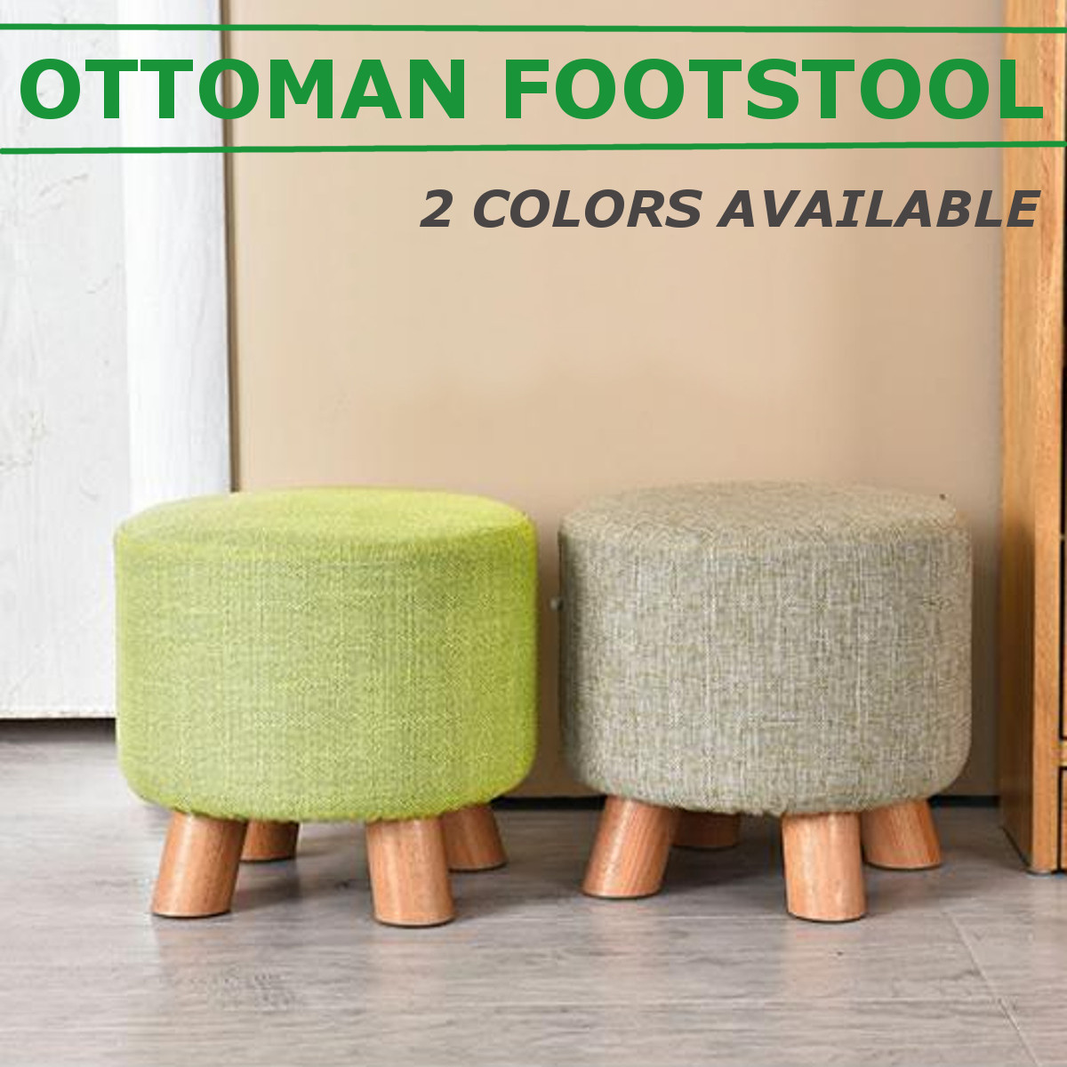 Living Room Luxury Upholstered Footstool Nordic Round Pouffe Stool Wooden Leg Pattern Round Fabric With 4 Legs