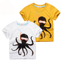 Kids T Shirts For Boys Summer Cartoon Octopus Print Baby Boy Tops Short Sleeve Toddler Boy Clothes Children T-shirts 1-9 Year new spring boys girls cartoon cotton tattoo t shirts children tees boy girl long sleeve t shirts kids tops baby clothes 12m 6y