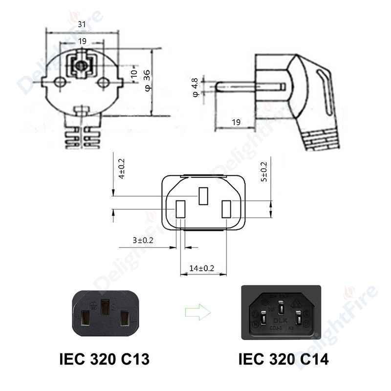 Kabel zasilający IEC C13 1m 1.5m 6ft 1mm Schuko CEE 7/7 przedłużacz wtykowy na pulpit pc zasilacz Antminer LG TV HP drukarka epson