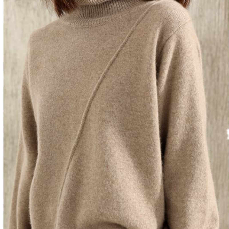 Soft Loose Jumpers for Women Turtleneck Winter Warm Sweater Cashmere and Wool Knitted Pullovers ladies 3Colors standard Clothes