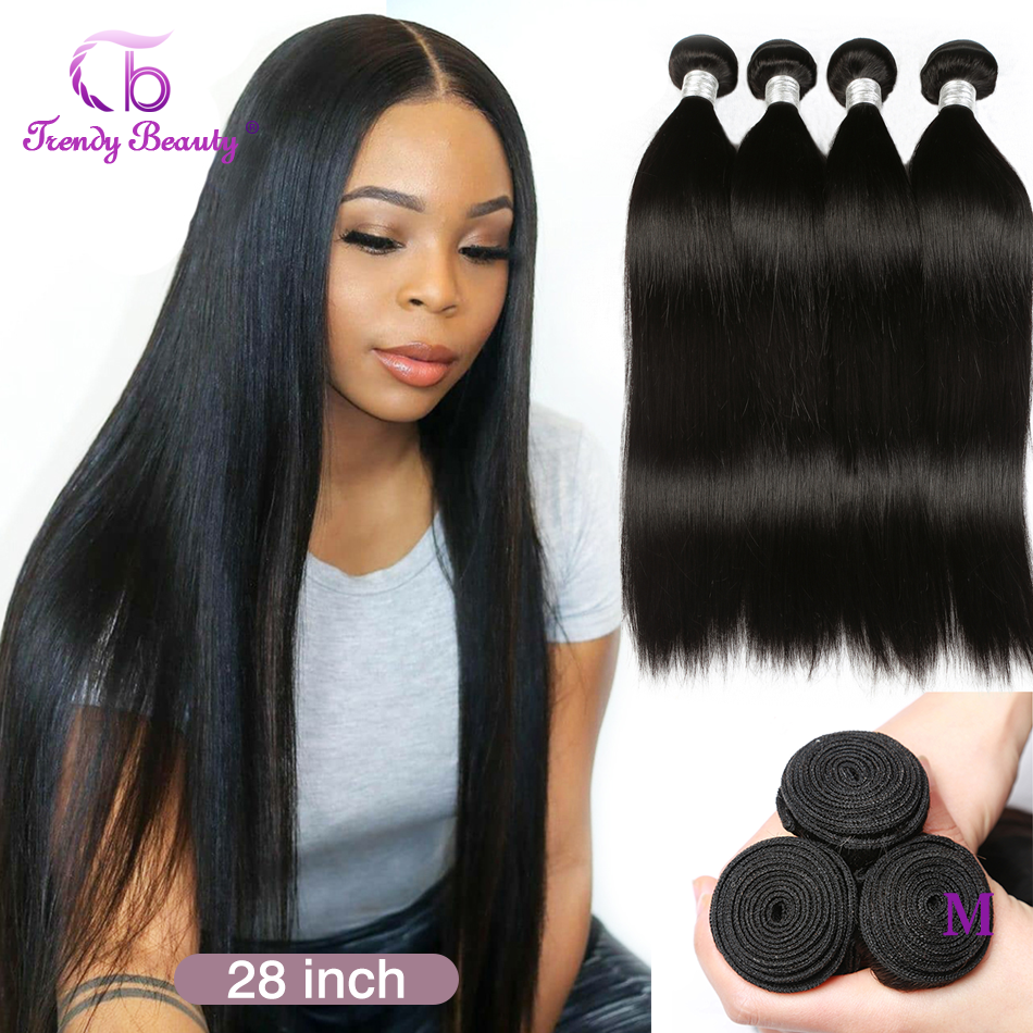 Straight  3/4 Bundles 8-30 Inches Non- Double Weft 100%  s Can Be Dyed Trendy Beauty 1