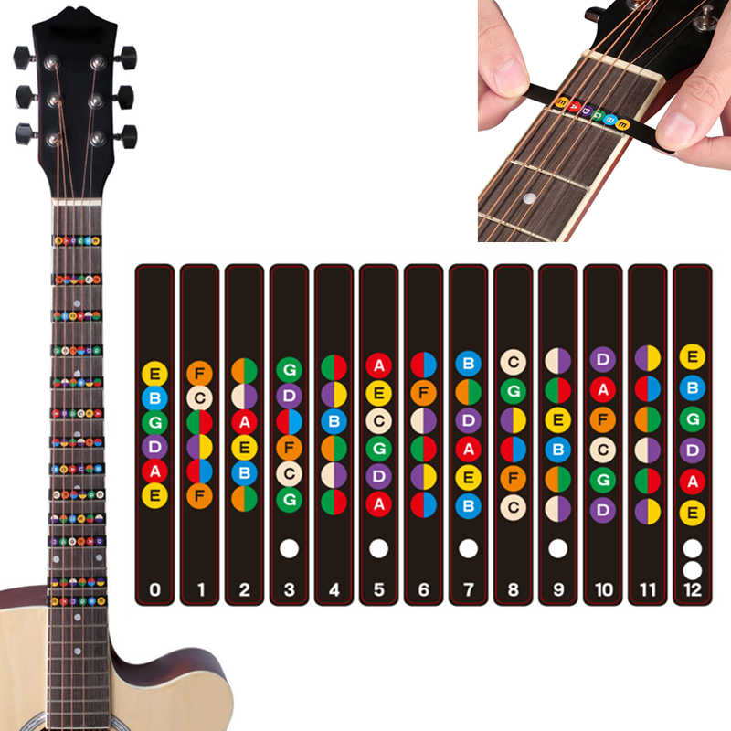 Water Resistant Universal Guitar Fretboard Note Labels Fingerboard Fret Stickers 2 Colors Optional Guitar Accessories
