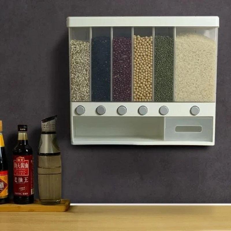Настенный разделенный дозатор для риса и хлопьев, 6 влагостойких автоматических стеллажей, герметичная коробка для хранения продуктов, кон...