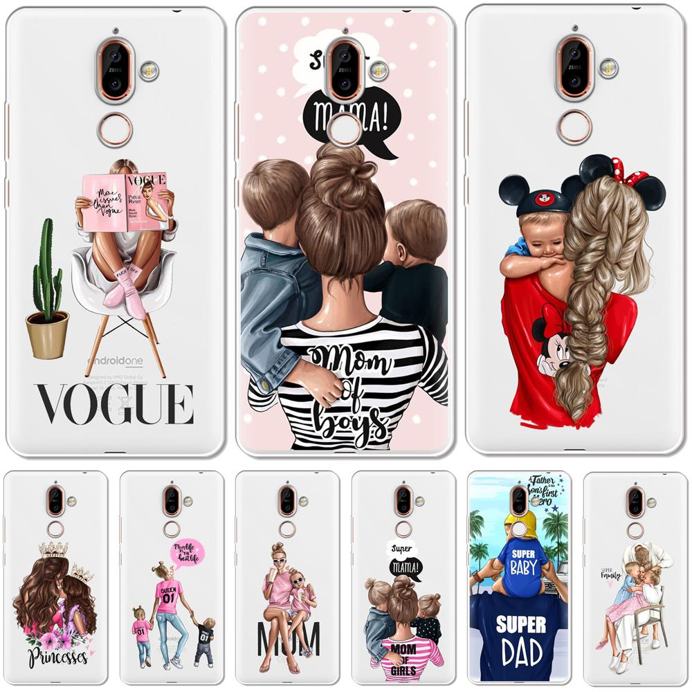 Black Baby Women Mom Girl Back Cover For <font><b>Nokia</b></font> 2.1 3.1 5.1 6.1 7.1 Plus 2018 Soft Silicone <font><b>Phone</b></font> Case For <font><b>Nokia</b></font> 2.2 3.2 <font><b>4.2</b></font> Case image