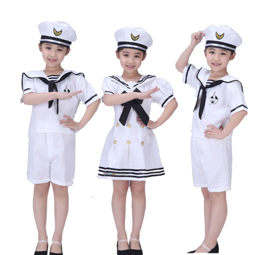 100-160cm Teenager Girls Dress Chorus Stage Wear Dance Performance Navy Sailor Costumes Kids Boys Army Suit Halloween Cosplay
