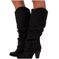 Leather Rivets Strap Winter Boots Women Knee High Long Boots Buckle Shoes Cowboy Wedges Slip on Winter Boots Women Zapatos