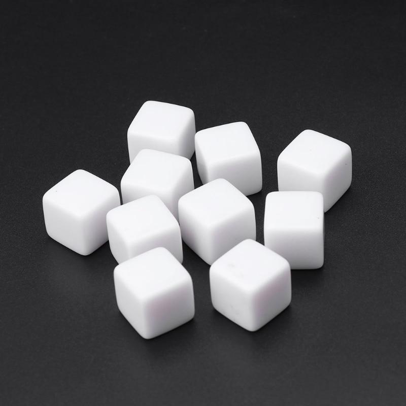 10 pièces/ensemble 6 côtés 14mm acrylique blanc dés fête famille bricolage jeux impression enfant jouets