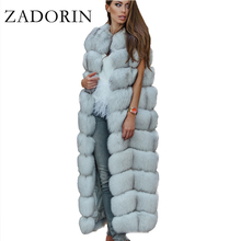 Fur Jacket Vest Overcoat Faux-Fox-Fur Furry Vintage ZADORIN Plus-Size Women Luxury X-Long