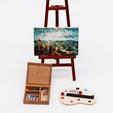 1/12 Doll House Paintbox Painting Easel Palette Miniature Art Room Scene Decor Painting Easel Palette Miniature Art Room Scene D