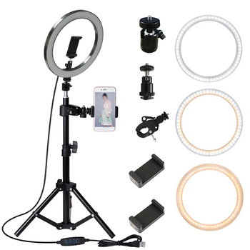 10inch Photography LED Selfie Ring Light 26cm Dimmable Camera Phone USB Ring Lamp With Stand Tripod For Makeup Video Live Studio