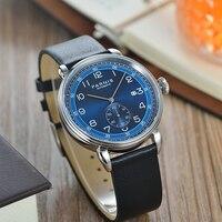 Parnis 42mm Caso Prata Mostrador Azul relógio de Safira Dos Homens Mecânico Automático Calendário Homens Relógios top marca de luxo 2019 homem do Relógio