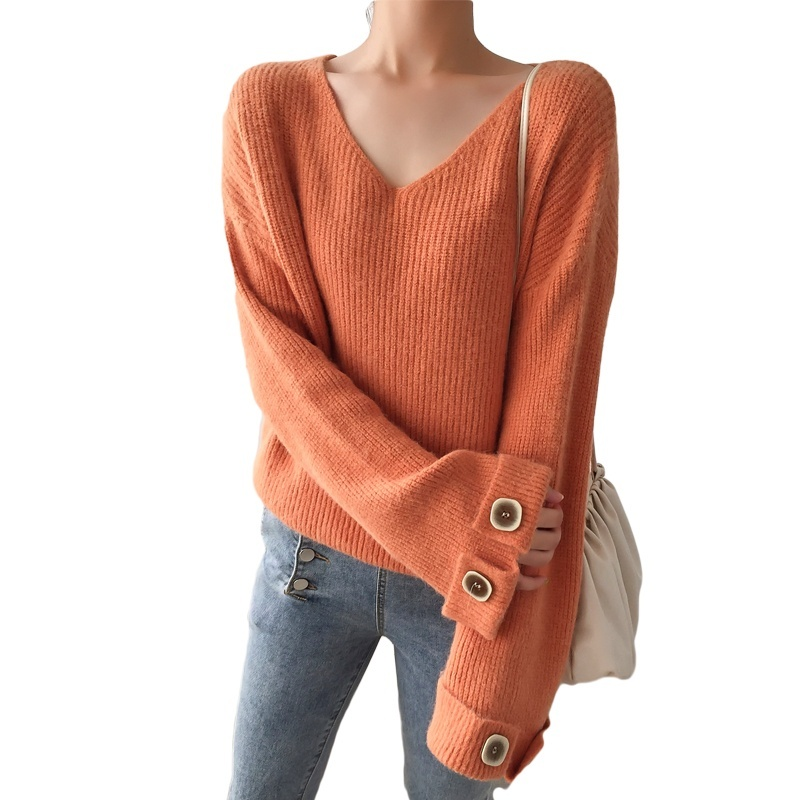Pullover Sweater Women V-neck Sweaters Ladies Long Sleeve Harajuku Loose Sweater Winter Clothes Women