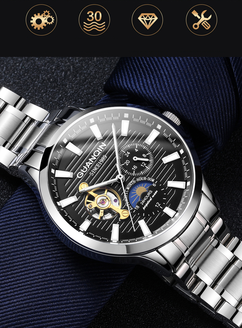 H23bcb03bd32246b09762bc98f9bd9d06G GUANQIN 2019 automatic watch clock men waterproof stainless steel mechanical top brand luxury skeleton watch relogio masculino