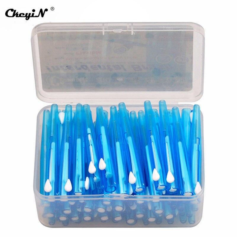 ckeyin 60 pcs caixa escova interdental cuidados orais saude dente empurrar e puxar remover alimentos e