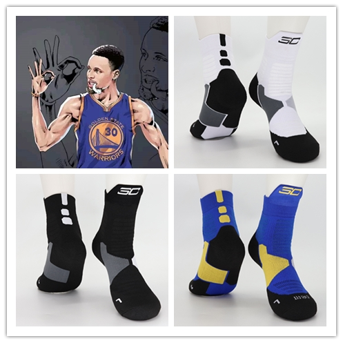 Adult Size Mid Calf Crew Socks Stephen Curry White Soxes Black Logo Professional Breathable Basketball Outdoor Sports Player Sox