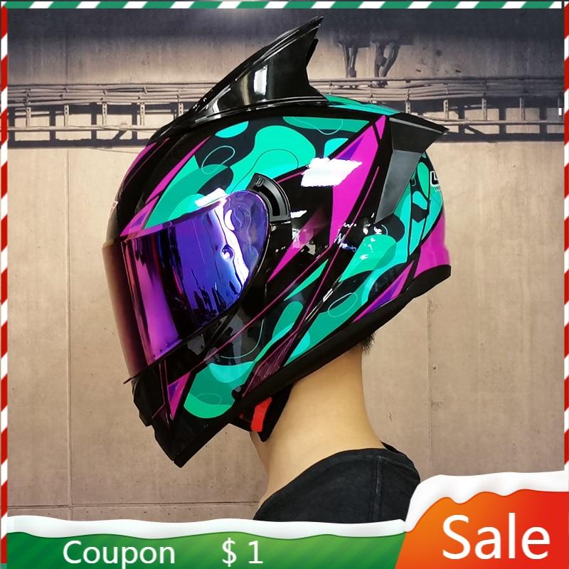 Dot aprovado capacete da motocicleta de corrida rosto cheio capacete de lente dupla locomotiva off-road capacete cascos para moto