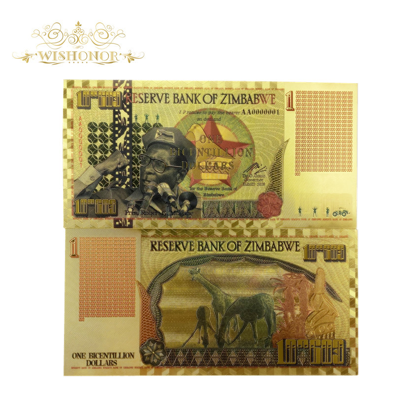 10pcs/lot Zimbabwe Gold Banknote for President Robert G. Mugabe One Bicentillion Dollars in 24K With UV lignht For gifts image