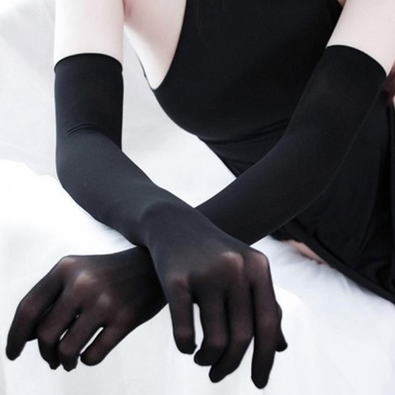 Fashion Sexy Ultra-thin Sunscreen Long Lace Gloves Summer Female Velvet Full Finger Elastic Anti-UV Cycling Driving Gloves H83