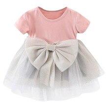 Детская одежда для малышей для девочек, одноцветное платье с бантом, с блестками, с круглым О-образным вырезом, расшитое пайетками Тюлевое п...