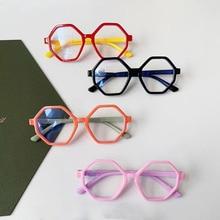 Large-Frame Computer Eyeglasses Anti-Blue light Children's Flat-Lens Candy-Color Silicone