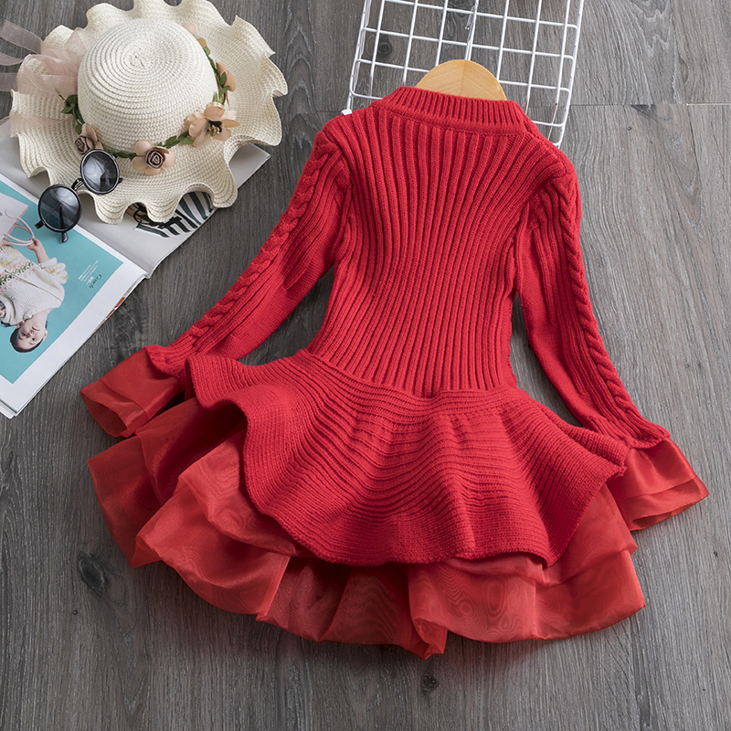 Long Sleeve Dress for Girls 3-8 Years Princess Costume Winter Knitted Kids Red Christmas Dress New Year Autumn Children Clothing 2