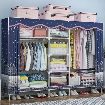 Wardrobe Simple Cloth Wardrobe Steel Pipe Thickening Thick Double Rental Room with Oxford Fabric Assembly Storage Wardrobe