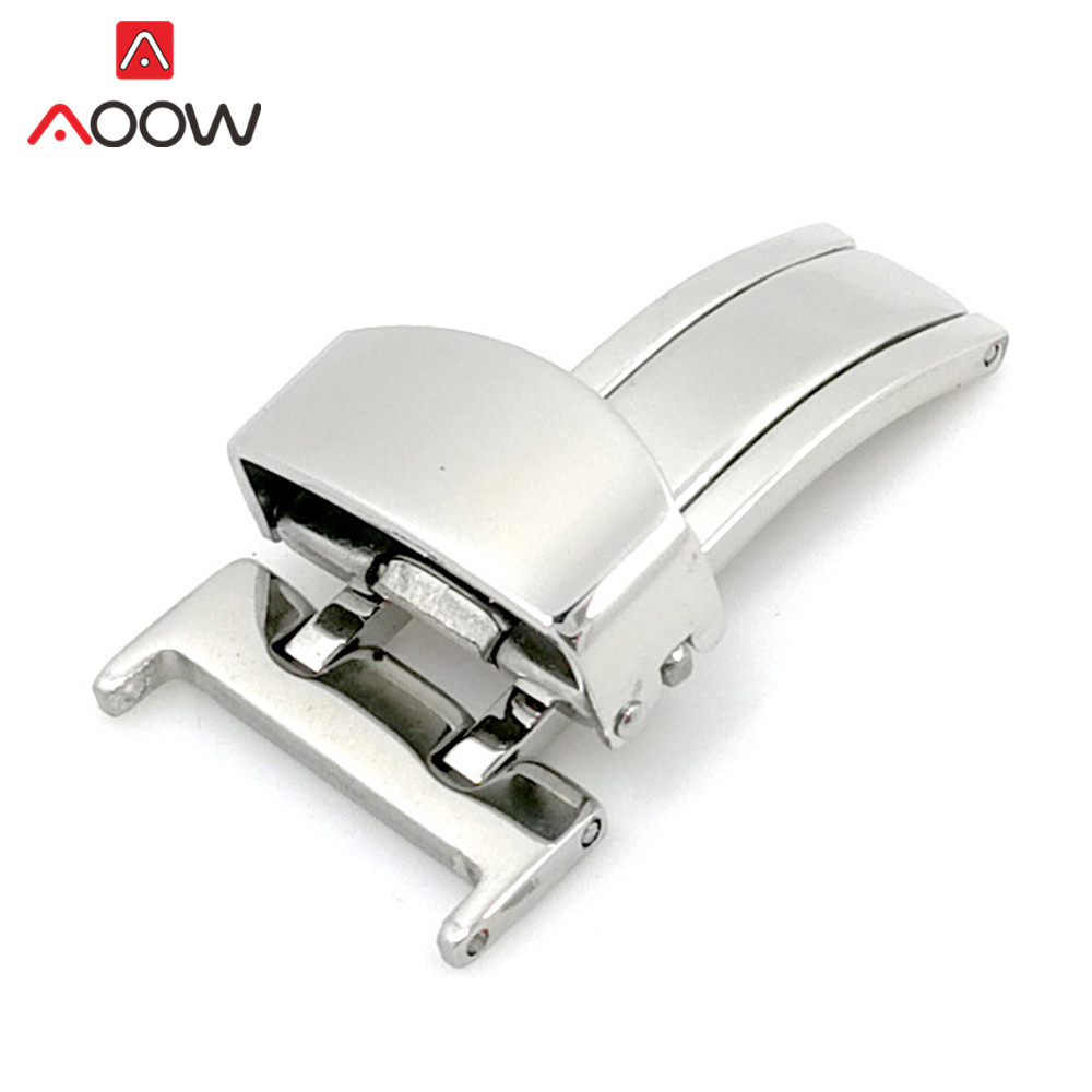 14mm 16mm 18mm 20mm 22mm Stainless Steel Butterfly Deployment Watch Band Buckle Metal Fold Button Strap Clasp Accessories Silver
