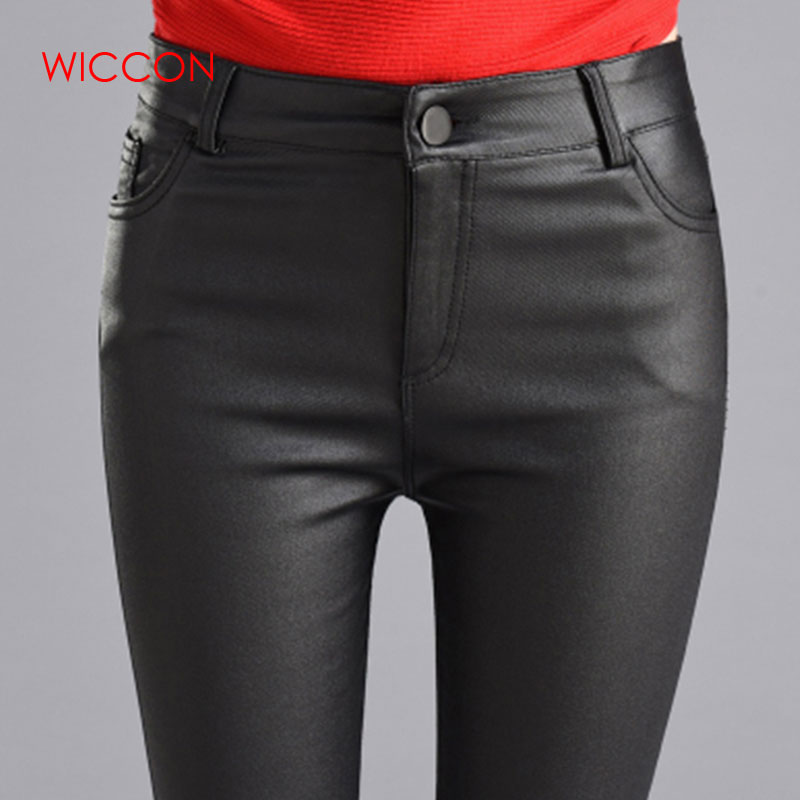 Women Thin Velvet PU Leather Pants 2019 Autumn Winter Female Sexy Elastic Stretch Skinny Tight Faux Leather Pencil Pants Trouser