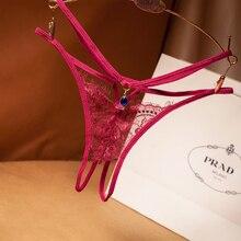 Lace Sexy Thong Ladies Cross Belt Ultra-Thin Hollow Temptation Panties Open File t Pants Eyelash Diamond Cutout Thong Underwear