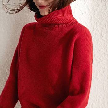 Cashmere sweater autumn and winter turtleneck women's fashion loose outer wear base knitted thick sweater turtleneck pullovers loose basic sweater autumn and winter tops solid cashmere sweater women loose thick mink cashmere sweater