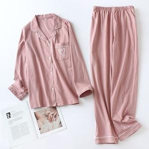 Image 3 - Nhật Bản trái tim ngọt ngào 100% Đan Cotton Bộ đồ ngủ bộ nữ thu đông nữ Casual đồ ngủ dài tay chất lượng pyjamas nữ