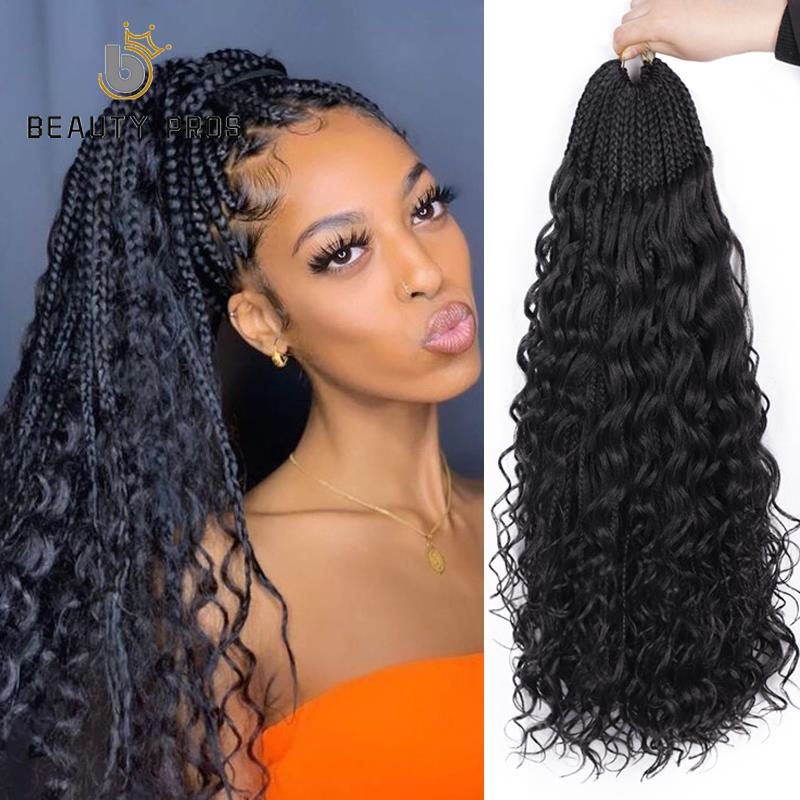 Messy Goddess Box Braids With Curly Hair Synthetic Crochet Hair Bohemian Hair With Curls 24inch Boho Braided Hair Extension Box Braids Aliexpress