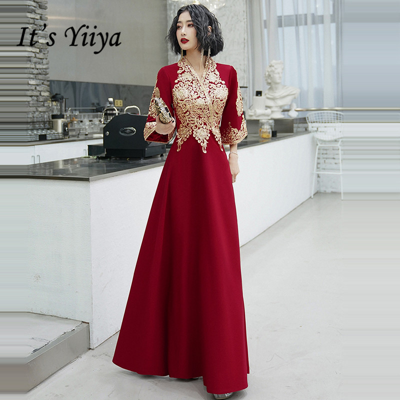 It's Yiiya Evening Dress 2020 Gold Embroidery Lace Evening Dresses Plus Size V-neck Formal Gown Half Sleeve Robe De Soiree LF089