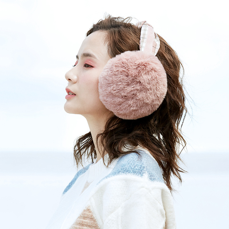 High Quality Collapsible Headband Fur Earmuffs Female Ear Warmer Winter Ear Muff  Windproof Hair Band Decoration Plush Ear Bag