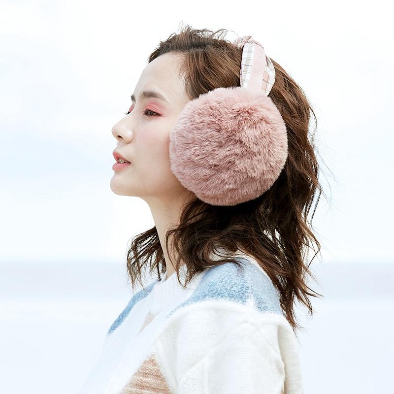 High Quality Collapsible Headband Fur Earmuffs Female Ear Warmer Winter Ear Muff  Windproof Hair Band Decoration Plush Ear Bag