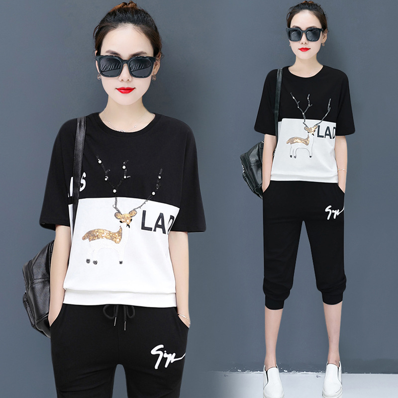 2019 New Style Sports Clothing Women's Summer Casual Loose And Plus-sized Short Sleeve Set Summer Fashion Capri Pants Two-Piece