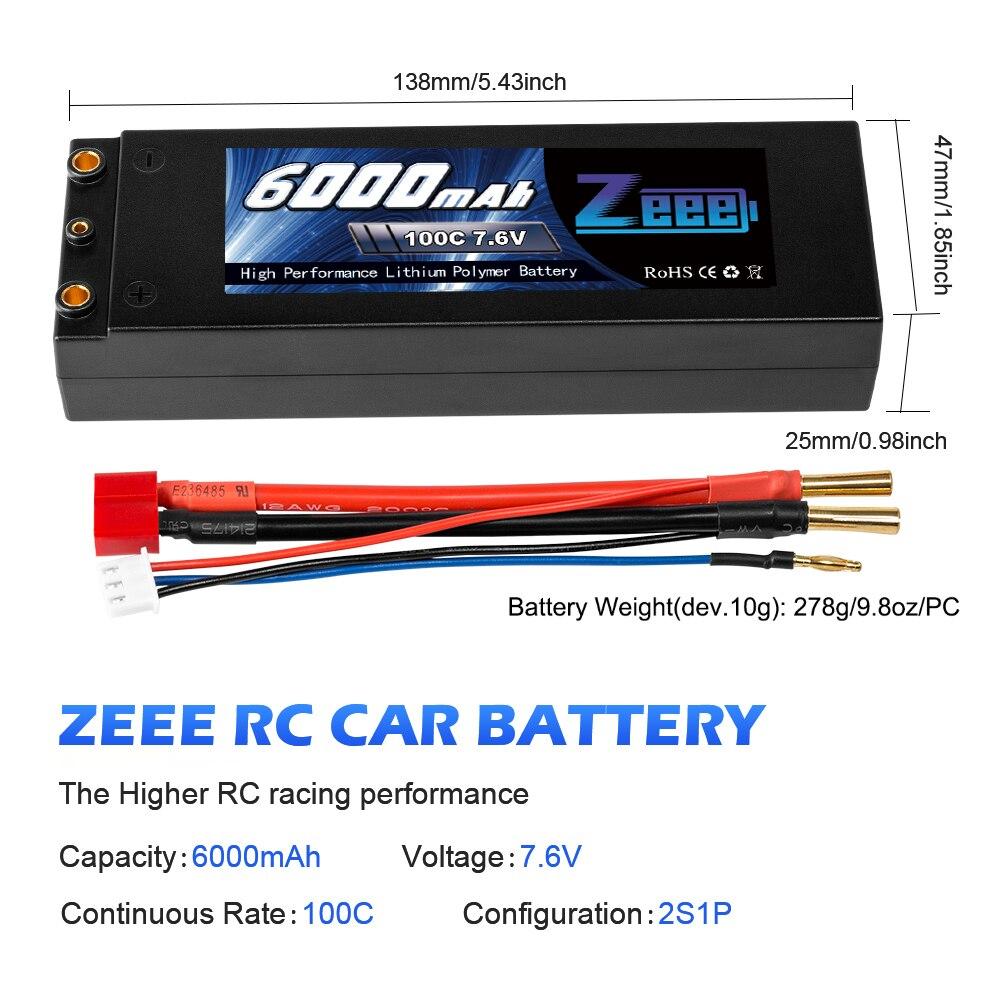 Zeee Lipo batterie 7.6V 6000mAh 100C RC Lipo batterie avec 4mm balle Deans Plug bateau chargeur de batterie pour RC voiture camion Truggy - 3
