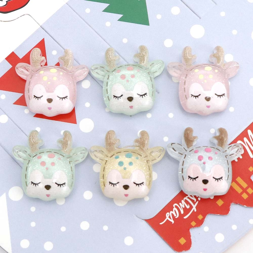 10Pcs Cute Flatback Resin Sleeping Deer Embellishments Kawaii Cabochons For Scrapbooking