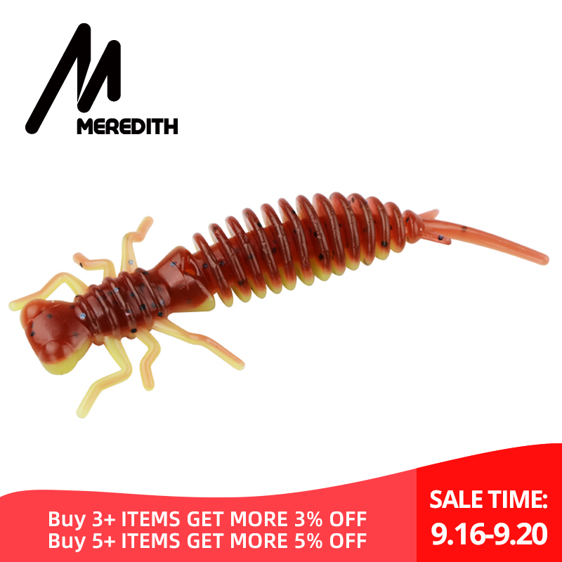 MEREDITH Larva Soft Lures 50mm 62mm 85mm Artificial Lures Fishing Worm Silicone Bass Pike Minnow Swimbait Jigging Plastic Baits