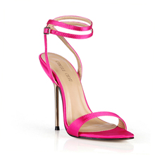 Summer New 11cm High Heeled Sandal Satin Women Sandals Stiletto Thin heel Ankle Strap Open Toe Sexy Party Bridals Lady Shoe 5-i3 цены онлайн