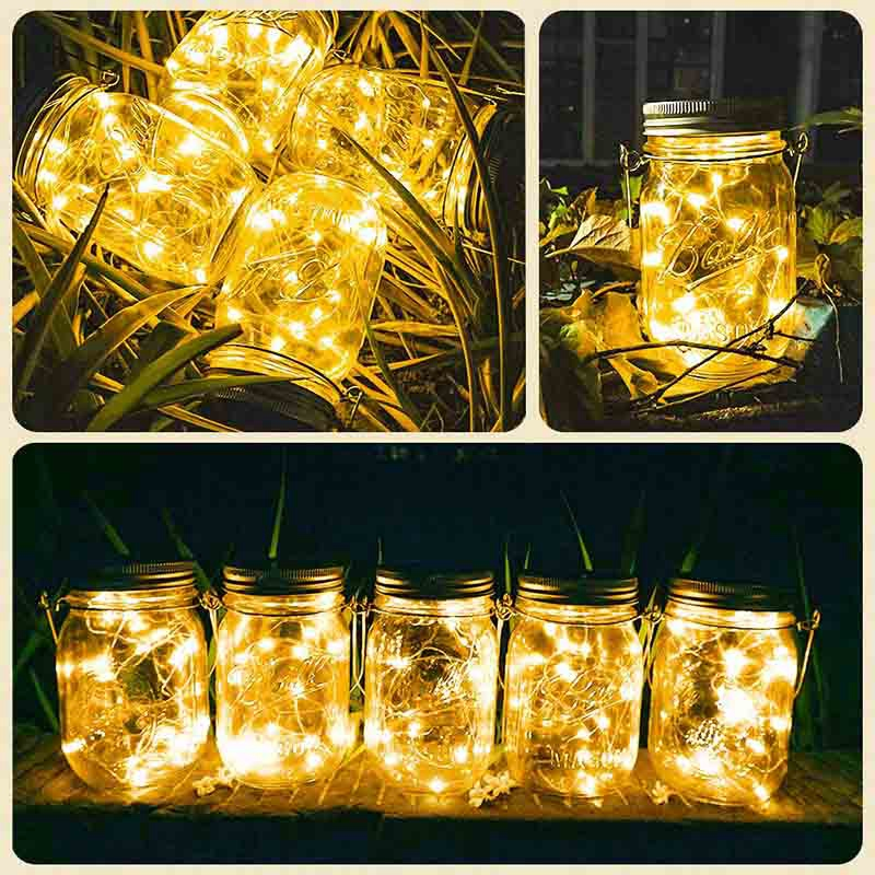 Solar Mason Jar Lights,8 Pack 20 LED Waterproof Fairy Firefly Jar Lids String Lights With Hangers(NO Jars), Patio Yard Garden We