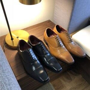 Image 4 - Merkmak erkek ayakkabısı 2020 yeni bahar elbise ayakkabı yüksek kaliteli iş PU deri dantel up ayakkabı resmi ayakkabı düğün için parti