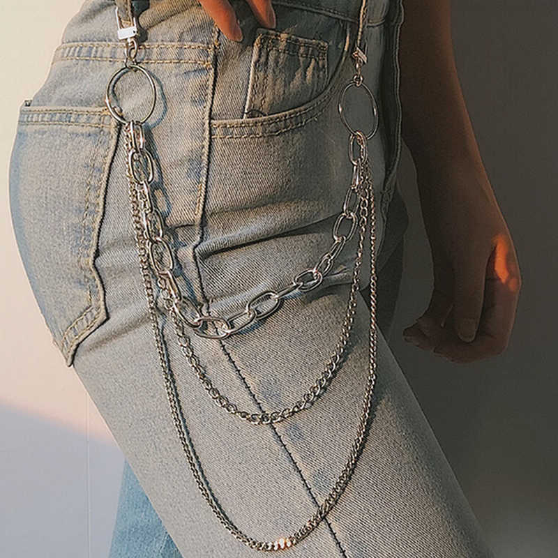 Punk Hip-Hop Trendy Single/Drie Layer Riem Sleutelhanger Taille Broek Keten Jeans Lange Metalen Kleding Accessoires sieraden Mode