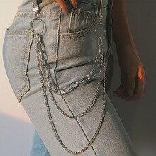 Punk Hip-hop modny pojedynczy/trzywarstwowy pasek kluczowy łańcuszek na talię spodnie łańcuszek dżinsy długie metalowe dodatki odzieżowe biżuteria moda