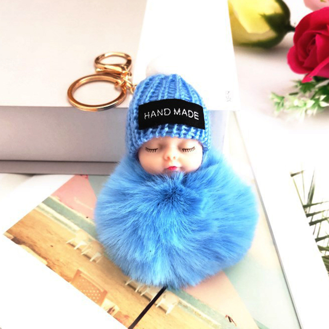 Fashion Colorful Sleeping Baby Doll Hanging Piece Hair Ball Pendant Cute Fluffy Pompom Chain Cotton Wool Holder Bag Ball Toy 6