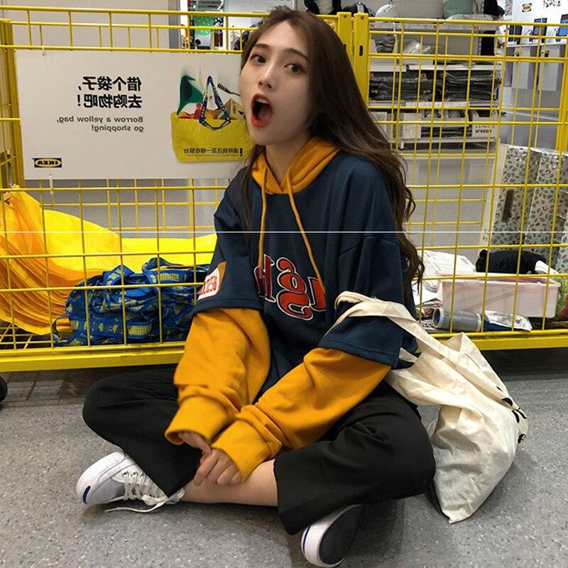2018 Корейская версия повседневных цветов, поддельный двухкомпонентный свитер с капюшоном и длинными рукавами Harajuku, свободный качественный